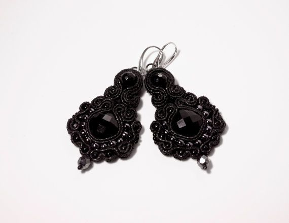 Black Metallic Soutache Earrings With Onyx by MystereSoutache