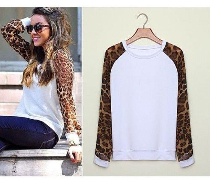Магазин СТИЛЬНЫЕ ШМОТКИ :: рукав длинный пэчворк верхний свитер трикотаж весна осень покроя леопардовый пуловер свободного свитера шифон Женщины