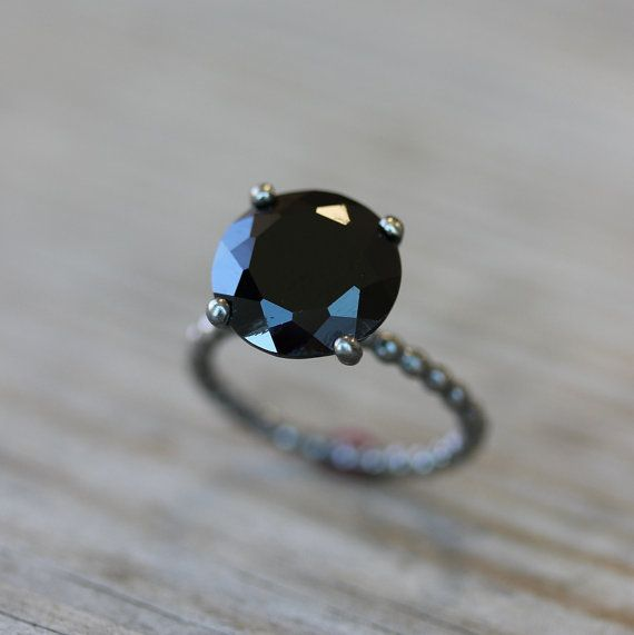 Black Spinel and Blackened  $298.00: Wedding Ring, Style, Blackened Sterling, Cocktail Rings, Solitaire Rings, Black Rings, Spinel Jewelry, Black Spinel, Cocktails