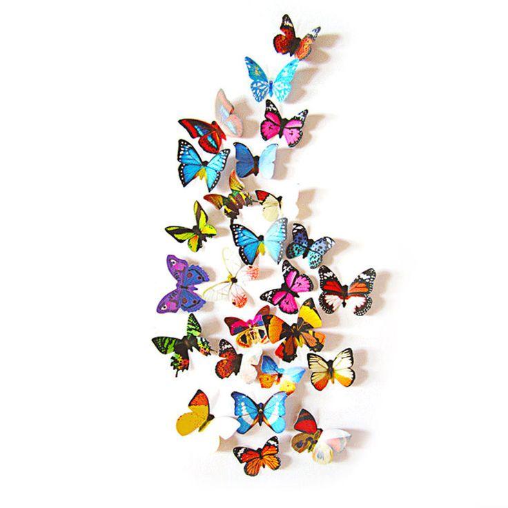 3D Schmetterlinge 12er Set Wandtattoo Wandsticker Wanddeko Wandaufkleber - Mix 3 in Dekoration  • Wandtattoo • 3D Schmetterlinge
