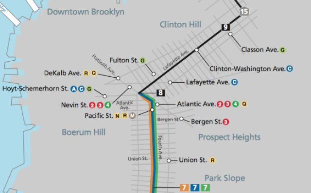 NY Marathon Course in Brooklyn: Check out These 5 Neighborhood Maps: NY Marathon Mini-Map: Park Slope-Atlantic Ave-Fort Greene