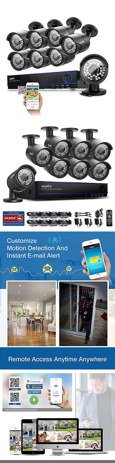 Surveillance Security Systems: Sannce 8Ch 2M 1080P Dvr Surveillance Cctv Outdoor Home Security Camera System BUY IT NOW ONLY: $259.59