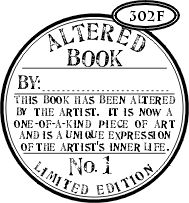 Altered book label