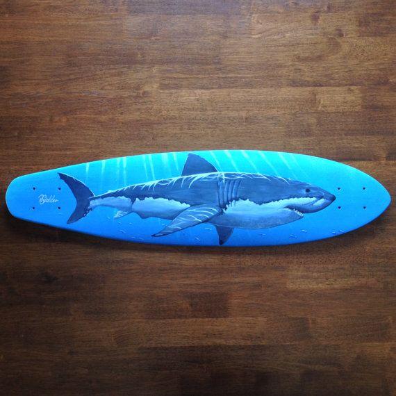 142 best great white shark four images on pinterest for Best paint for skateboard decks