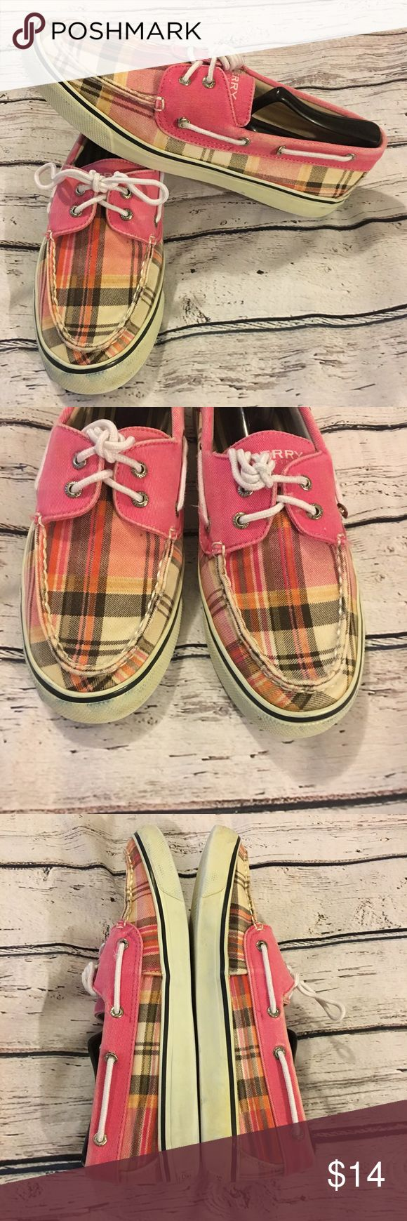 Woman's Sperry 9.5 Boat Shoes Pink Plaid Top-Sider Woman's Pink plaid Sperry Boat shoes Top-Sider Shoes are a little stained inside, but I️ have washed them. They're clean. Three grommets have come loose. Shown in photos. Size 9.5 Clean outside, bottoms in good condition. Price is according to condition. All flaws have been disclosed to the best of my ability. Smoke free pet free home No weird odors. Shoes are in good overall condition. Sperry Top-Sider Shoes Flats & Loafers