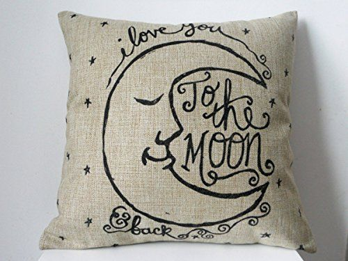 """Cotton Linen Square Decorative Retro Throw Pillow Case Vintage Cushion Cover I Love You to the Moon and Back 18 """"X18 """""""