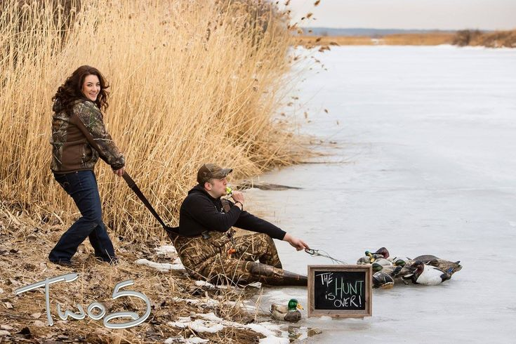 Engagement. Duck hunting. Cute