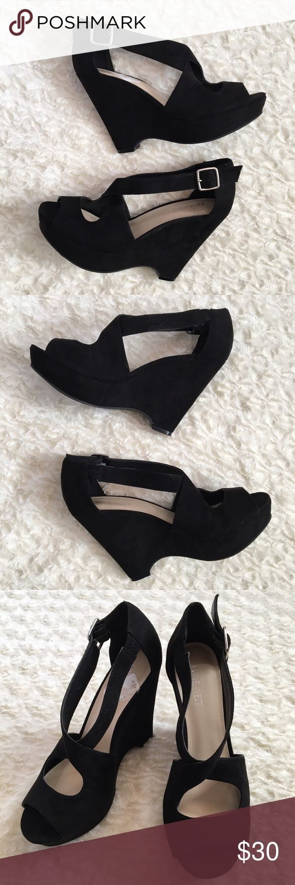 {Nine West} Strappy Heels Black Nine West heels with a suede texture and silver buckle. Barely worn and is NWT. Still has price tag sticker & is a size 7.5. Nine West Shoes Heels