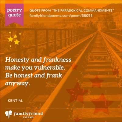 The Paradoxical Commandments By Kent M. Keith, Famous Life Poem