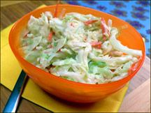 Hungry Girl Coleslaw! This stuff is amazing! A huge serving is only 50 calories and it is yummy. I made this all summer long!