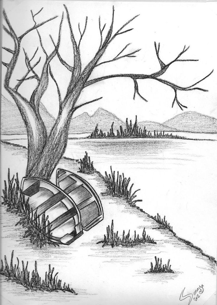 Nature pencil sketch images drawing library