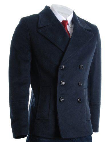 FLATSEVEN Mens Winter Double Breasted Pea Coat Short