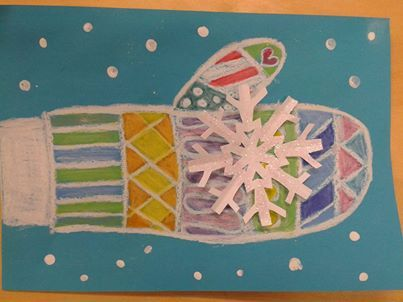 Winter Art Project: Students design their own mitten and add a snowflake for a 3-D effect. (Picture Only):