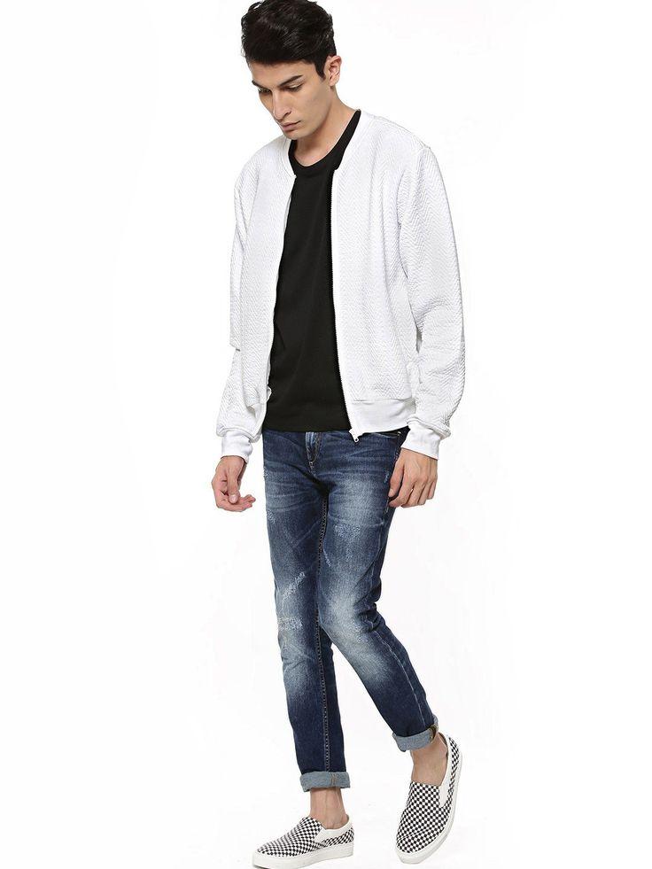 Buy KOOVS Light Weight Quilted Baseball Jacket For Men - Men's White Baseball Jackets Online in India