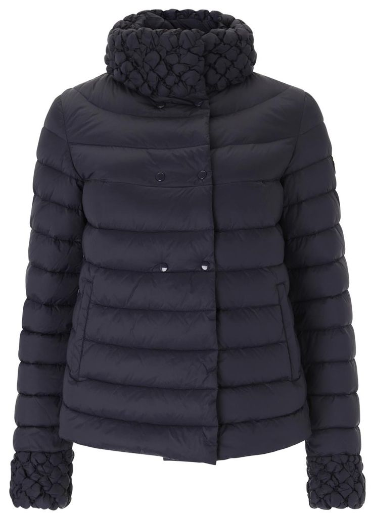 Armani Jeans navy shell jacket  Quilted, textured collar and cuffs, designer plaque, two side slit pockets, fully lined  Concealed press stud fastenings through front  100% polyamide; filling: 90% duck down, 10% feather