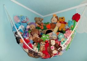 My daughter has one of these stuffed animal nets, and it really helps get toys off the floor!