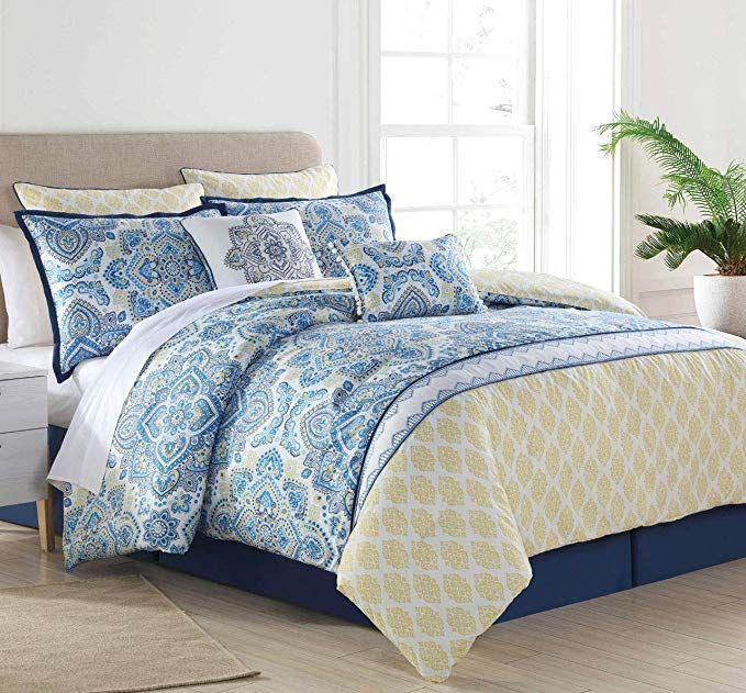 Amazon Com Kinglinen 8 Piece Sasha Blue Yellow Comforter Set Queen Home Kitchen Green Comforter Sets Yellow Comforter Set Green Comforter