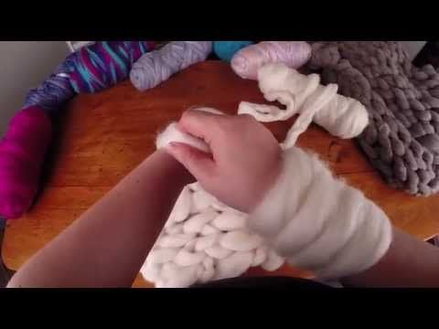 How to arm knit a extreme scarf or throw with wool tops (sliver) | YouTube video by Ashford