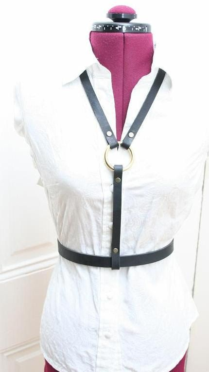 Helen Lynch Black Leather Fashion Harness goth high fashion steampunk oilpunk. $89.00, via Etsy.