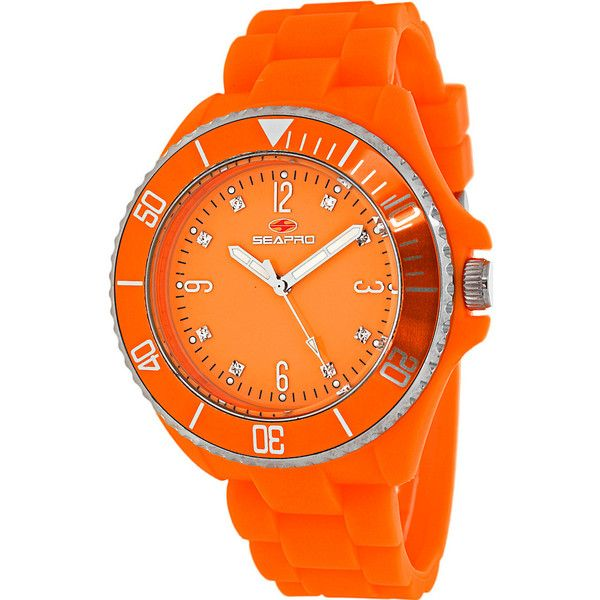 Seapro Watches Women's Sea Bubble Watch - Orange - Women's Watches ($82) ❤ liked on Polyvore featuring jewelry, watches, orange, water resistant watches, orange watches, silicone strap watches, orange jewelry and dial watches