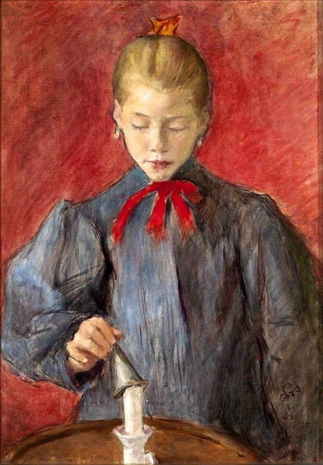 Stanisław Wyspiański - Girl putting out a candle (1893)