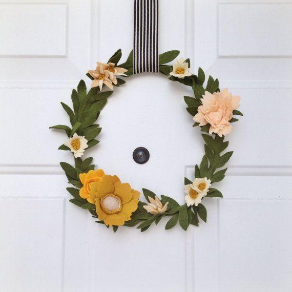 Felt wildflower wreath by TheFeltFlowerShop on Etsy, $45.00
