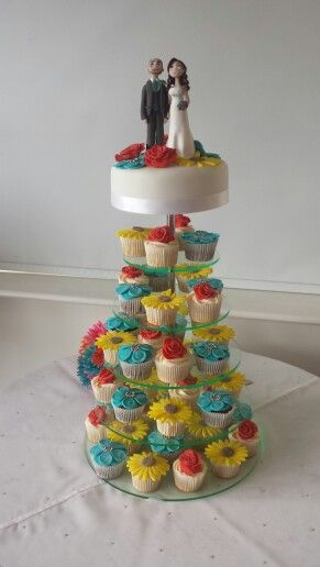 Wedding cake and cupcakes plus personalised wedding cake topper