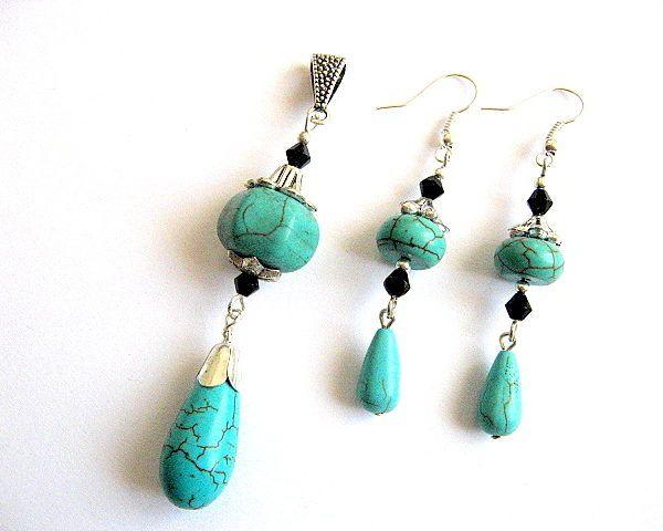 Bijuterie turcoaz si cristale, set bijuterii femei oandantiv si cercei - bijuterii pietre semipretioase lucrate manual