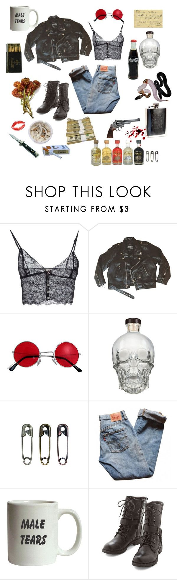 """""""Natural Born Killer"""" by suprisebitch666 ❤ liked on Polyvore featuring Haute Hippie, Tim Holtz, Urban Outfitters, Levi's, Ash and Smith & Wesson"""