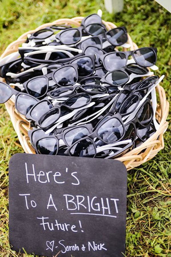 Here's To A BRIGHT Future!  Sunglasses wedding favors - SARAH + NICK | Gallatin, Tennessee Farm Wedding  #wedding #favors