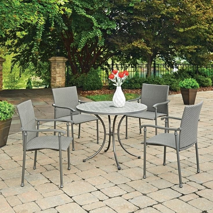 Umbria Concrete Tile 5 Pc Round Outdoor Table & 4 Chairs by Home Styles