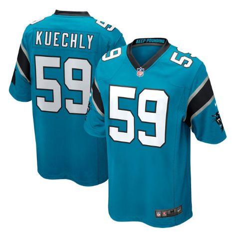 Men's Carolina Panthers #59 Luke Kuechly Light Blue Stitched Nike NFL Home Limited Jersey