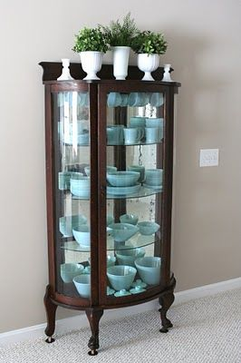I love the turquoise fire king. one day i will have a collection like this!!