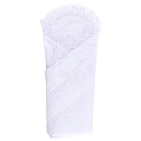 """Плакса Конверт-одеяло Нежность  — 2870р. ----------------------- Конверт-одеяло """"Нежность""""белогоцвета марки Плакса. Конверт на липучке, выполнен��ый из чистого хлопка, дополнен подкладкой из холлофайбера, которая обеспечивает хорошую вентиляцию и терморегуляцию. Изделие декорированонежным кружевом.Конверт на выписку в дальнейшем можно использовать как одеяло для малыша. Размер: 105х105 см."""