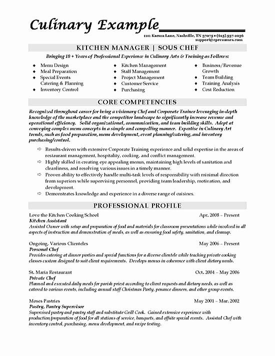 Kitchen Manager Job Description Resume Fresh Sous Chef Resume Example In 2020