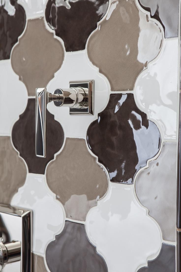 157 best walker zanger tiles images on pinterest bathroom detail of a shower wzs tuileries ceramic tile in arabesque blend dailygadgetfo Gallery