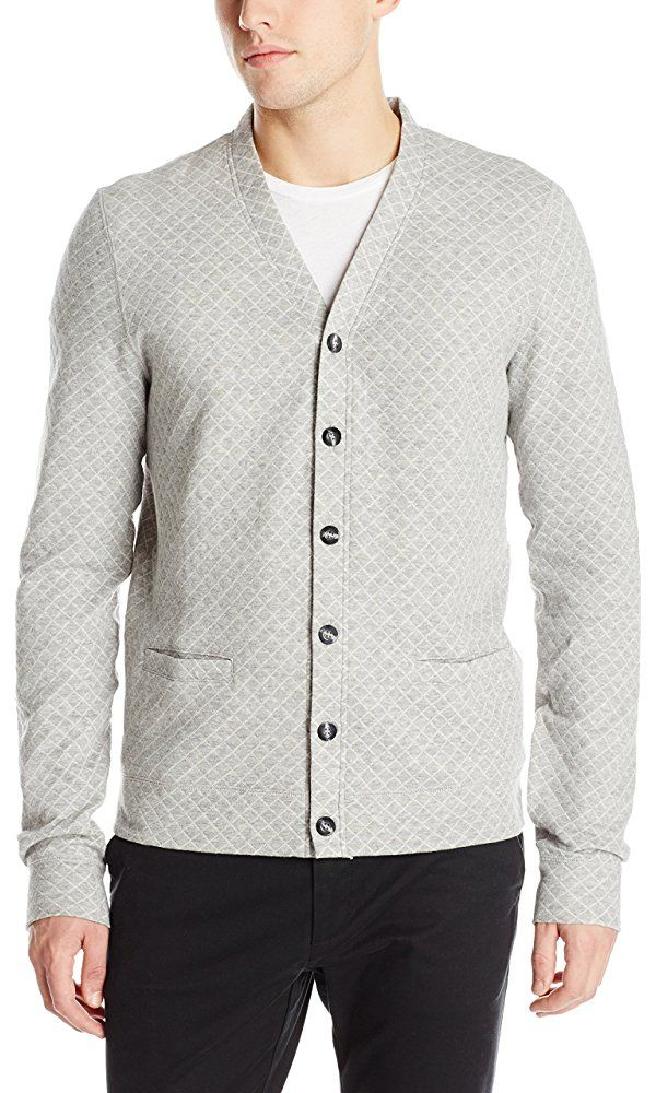 Naked & Famous Denim Men's Slim Cardigan Quilted Knit, Pale Grey, X-Large Best Price