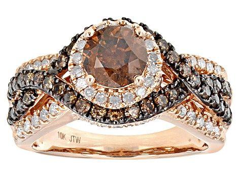 Jtv Diamond Rings >> Champagne And White Diamond Ring 10k Rose Gold 2 00ctw