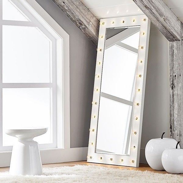 "PB Teen Marquee Light Floor Length Mirror, 59"" x 28"" ($399) ❤ liked on Polyvore featuring home, home decor, mirrors, pbteen, white full length mirror, inspirational home decor, full length mirror and white mirror"