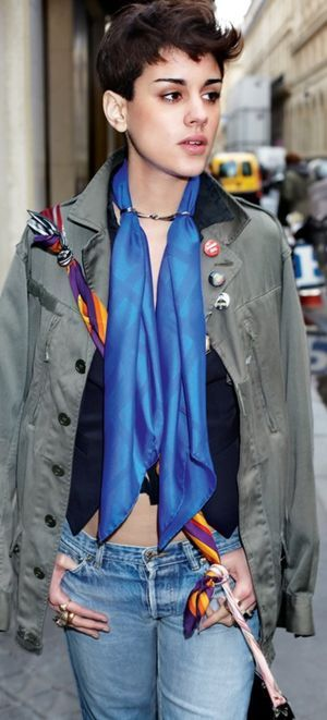 Outfit with Hermès silk scarf