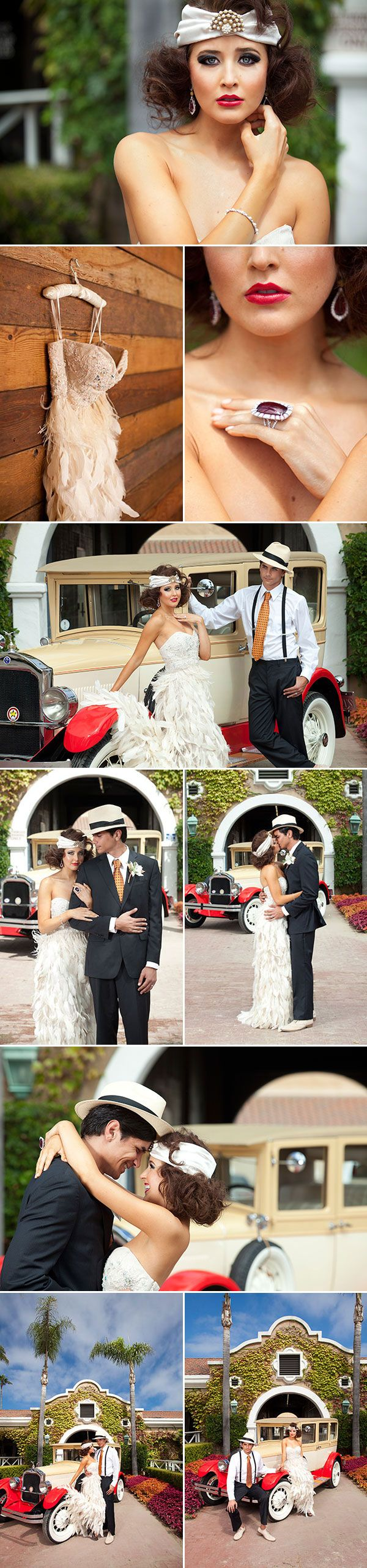 """""""Gatsby wedding inspiration"""" -- for when you don't care that Gatsby was a compulsive liar, Daisy was a self-involved money-chaser, and everyone involved developed deep obsessions on shallow targets because actually feeling emotions was too hard.   I mean, the twenties are gorgeous, but Gatsby itself is not an inspiration for marriage!"""
