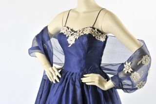 Maroondah Gallery - Blue organdie cocktail dress with stole 1950s