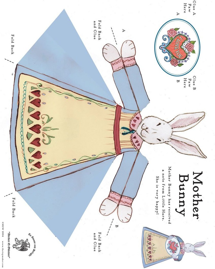 Easter bunny paper toy