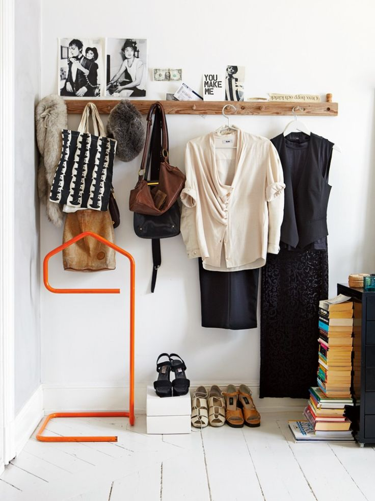 I lay my entire outfit out every night before bed... accessories and all.  It's a strange ritual,  but I'm not a morning person.  Decisions regarding wardrobe are just too much without coffee.  A long pegboard like this in my bedroom is a must.