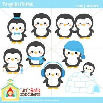 Clip Art: Penguin Cuties - Winter theme clipart $