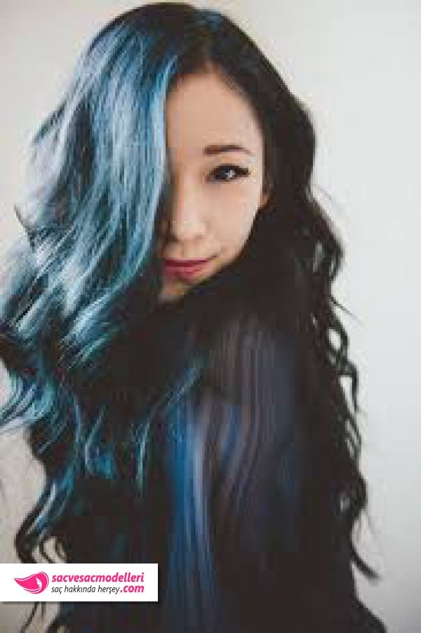 mavi siyah saç rengi