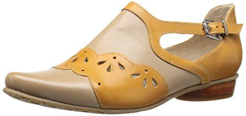 Fidji Women's V516 Flat, Taupe/Mustard, 40 EU/10 M US *** Learn more by visiting the image link.