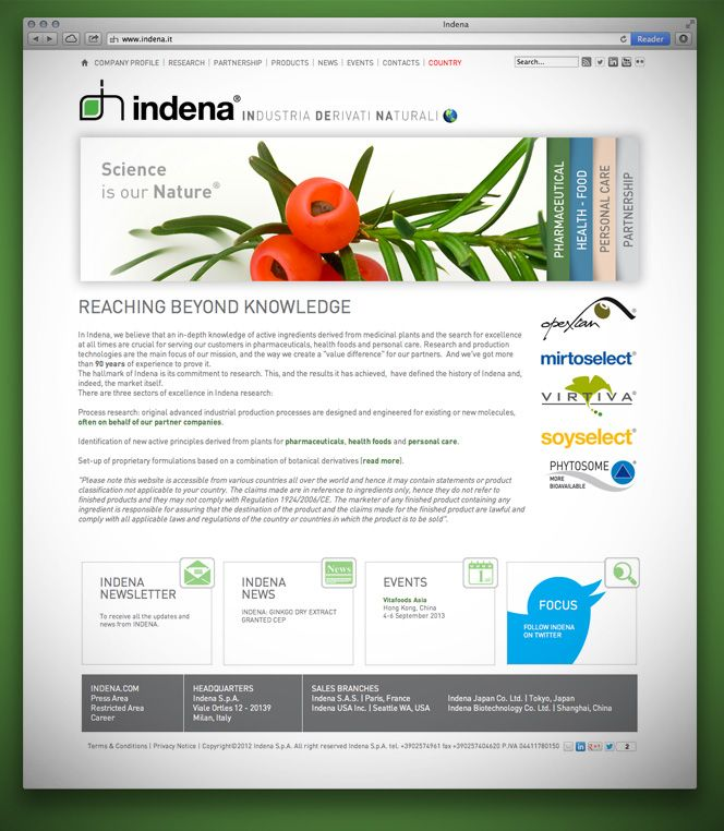 Indena new website: company profile, full product range of natural ingredients, news&events update for pharma, health food and personal care industries.