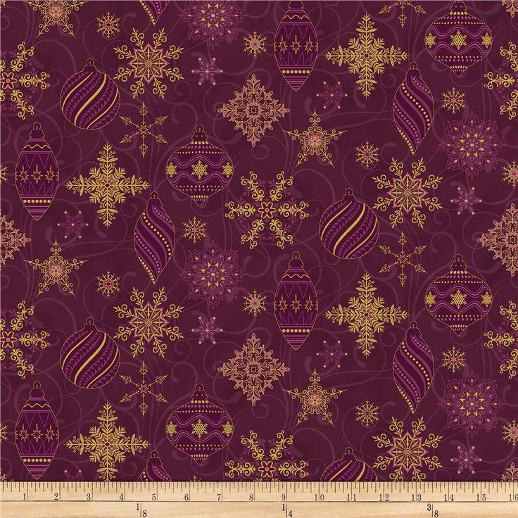 Stoffabric Denmark Sparkle Metallic Christmas Ornaments and Snowflakes Wine