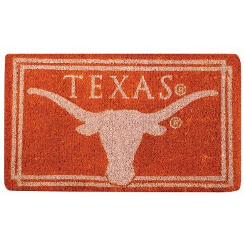 "Texas Longhorns Welcome Mat by Team Sports America. $39.95. Each mat features your favorite team's logo and a unique design that is featured in full color. These licensed team logo mats are wholly natural products and are fully bio-degradable. Made of 100% coconut coir. Enviromentally safe product. Our large 18"" x 30"" team logo welcome mats have been uniquely crafted by skilled Indian artisans using centuries of old traditional methods. NCAA Texas Longhorns Welcome Mat"